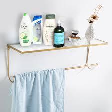 Acrylic Bathroom Shelves by Wall Mounted Acrylic Floating Shelf Organizer Rack With Brass Tone