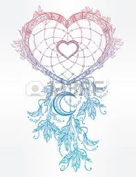 hand drawn romantic drawing of a heart shaped dream catcher