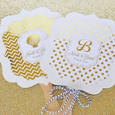 personalized wedding fans personalized metallic foil wedding paddle fans