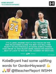Kobe Bryant Injury Meme - kobe bryant to gordon hayward b r bryant bost 2d it s a long