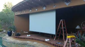 Backyard Projector Screen by Design U0026 Install Outdoor Backyard Projection System Optoma