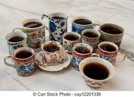 fancy coffee cups various fancy coffee cups on table a dozens small fancy stock