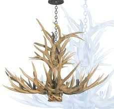 antler chandelier with down light custom lighting