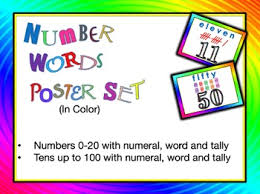 number words poster color squirrelgirl tpt