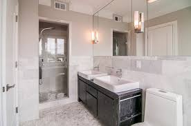 contemporary 3 4 bathroom with wall sconce u0026 flush light zillow
