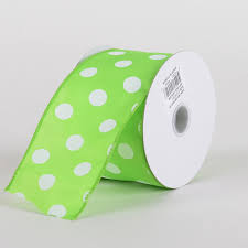 and white polka dot ribbon polka dot ribbon wired lime green with white dots w 2 1 2 inch l