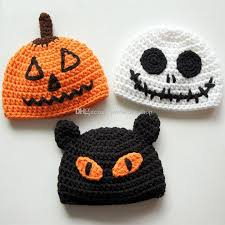 2018 handmade knitted crochet baby halloween hats pumpkin jack