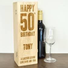 wine birthday personalised wooden wine box with hinged lid happy 50th birthday