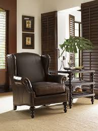 Royal Home Decor by Royal Kahala Batik Leather Wing Chair Lexington Home Brands