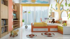 good modern room kid with 3d wallpaper and softly bed with some