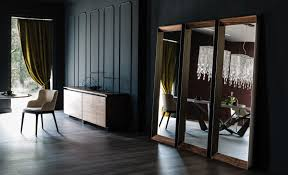 wall mounted framed wooden mirror excalibur by cattelan italia