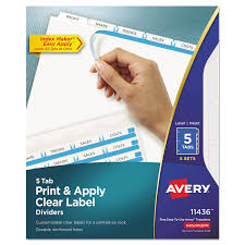 print u0026 apply clear label dividers w white tabs by avery ave11436
