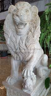 marble lion pair of regal guardian lion statues beige venato marble carved