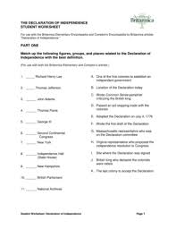 Declaration Of Independence Worksheet Answers Fax Related To Independence Fill Printable Fillable