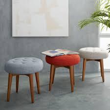 mid century upholstered stool beautiful things pinterest