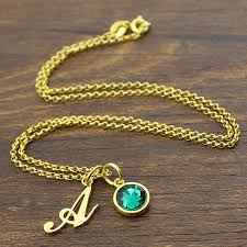 custom birthstone necklaces custom letter jewelry personalized initial birthstone necklace gold