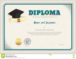 diploma certificate template in vector with graduation cap stock