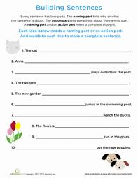 beginning grammar building sentences worksheet education com