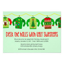 ugly christmas sweater party invitation poem gray cardigan sweater