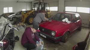 volkswagen old red restore old carpaint yourself red bagged golf mk2 gets new shine
