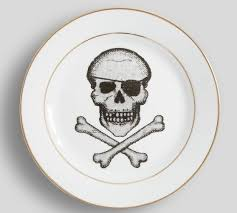 porcelain skeleton ring holder images Skull and crossbones appetizer plates set of 4 pottery barn jpg