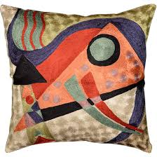 Accent Sofa Pillows by Kandinsky Abstract Composition Orange Silk Throw Pillow Cover 18