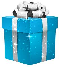 blue shining gift box with silver bow png clipart image gallery