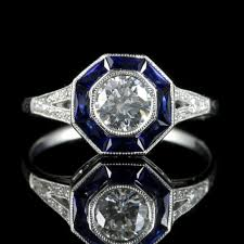 art deco diamond sapphire ring 18ct white gold engagement ring
