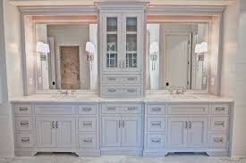 Bathroom Tower Cabinet Gorgeous Vanity With Center Tower For Storage By