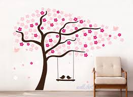 Cherry Blossom Tree Wall Decal For Nursery Tree Wall Decals Nursery Cherry Tree Stencils Pink Wall