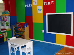 interior colorful wall painted for small kids playroom design