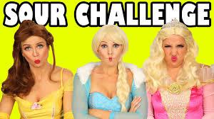 sour candy challenge for kids princess belle vs elsa vs aurora