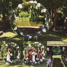 wedding backdrop garden circle of leaf luxe