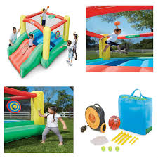 little tikes dunk u0027n toss inflatable bouncer fun backyard set