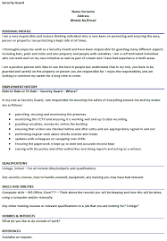 Hobbies And Interests On A Resume Examples by Security Guard Cv Example Icover Org Uk
