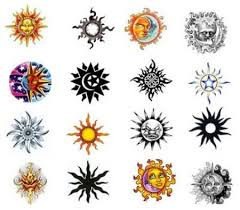 colored ink sun tattoos