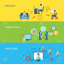 Design Works At Home Freelance Online Work At Home And Remote Jobs Flat Color Banner