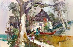 huts at heeia oahu by robert e wood california watercolor