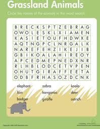 habitats word search grassland animals science words word