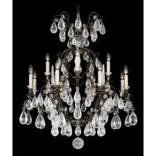 Antique Rock Crystal Chandelier 2472 47r Antique Pewter Versailles Rock Crystal