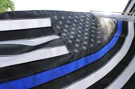 Blue And Black Striped Flag Blue Line Flag Police Officer Support 3x5 Foot With Embroidered