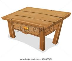 Funny Coffee Tables - wood little table illustration cartoon funny wooden stock vector