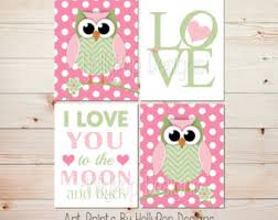 Pink And Green Nursery Decor Pink Green Nursery Etsy