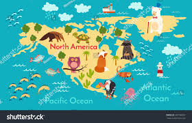 map usa oceans animals world map america vector stock vector 307790207