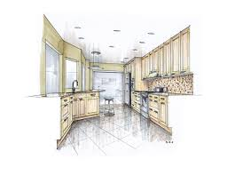 sketch rendering dawi with stunning drawing color kitchen of