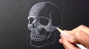 drawing lapse skull white pencil black paper