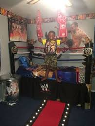 wwe bedroom hank s wwe room makeover adhered velcro to the wall for the belts