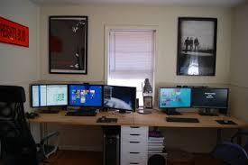 ergonomic desk setup with two monitors muallimce