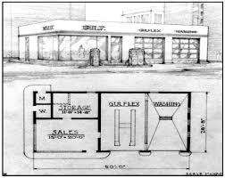 gas station floor plans 1940s artist rendering gulf gas station reed brothers dodge