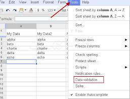how to create a drop down menu in google docs